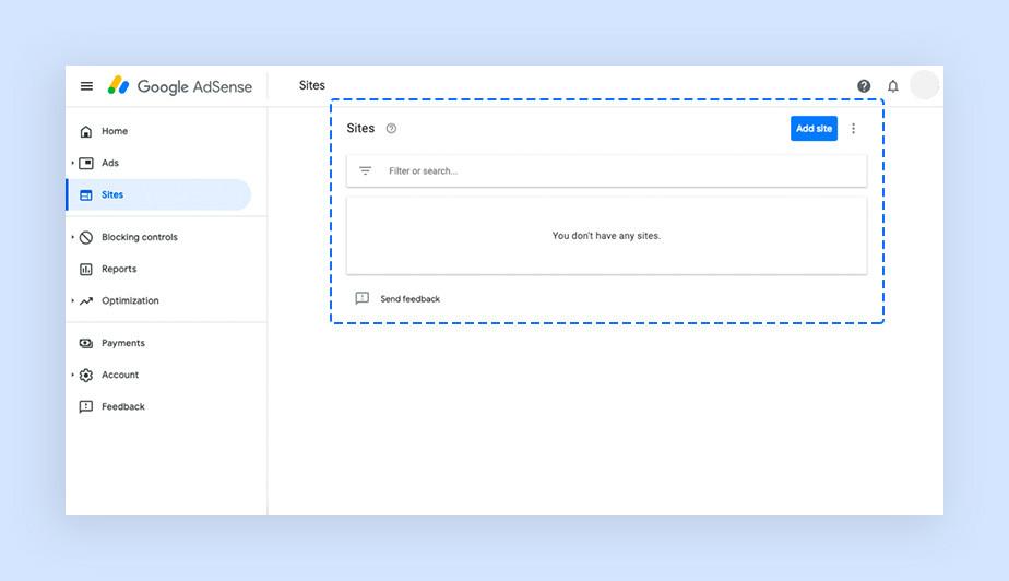 구글 애드센스에 자신의 웹사이트를 추가하는 페이지의 이미지