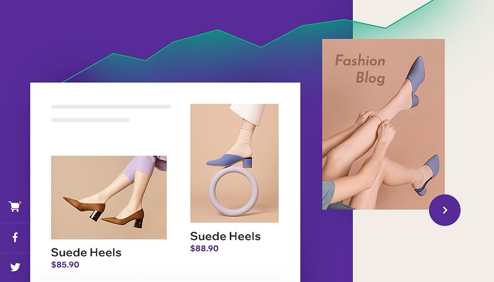 온라인 쇼핑몰의 아름다운 구두 이미지 및 가격 표시