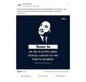 Ejemplo de publicación en Facebook