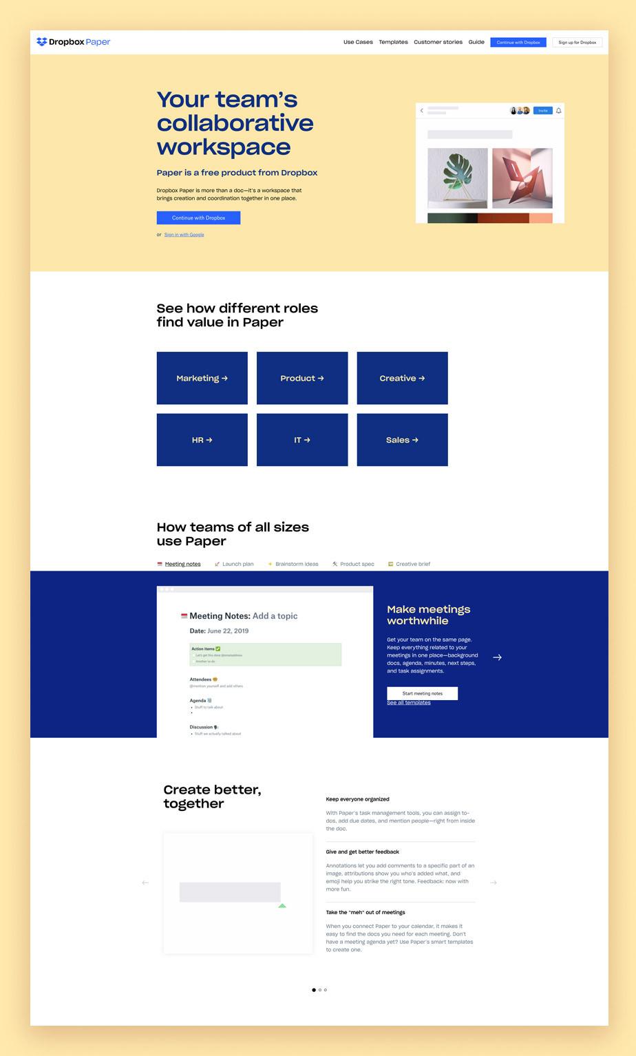 Landing page di Dropbox