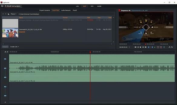 Interface des Videobearbeitungsprogramms von Lightworks