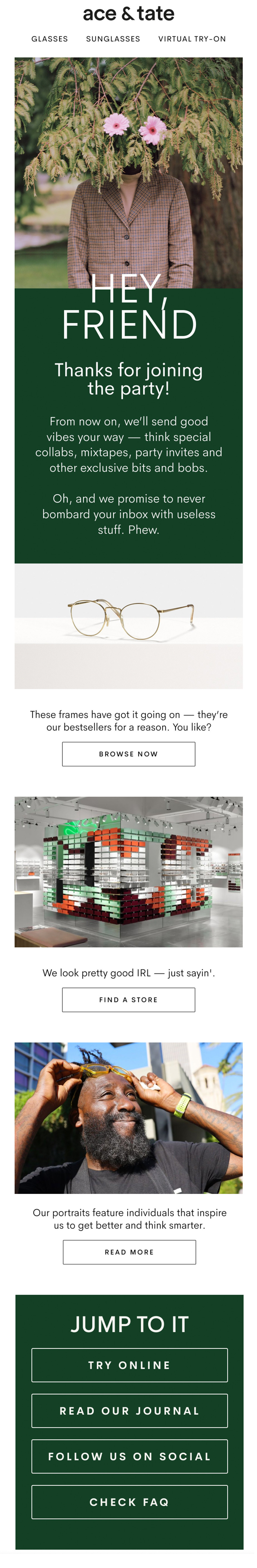 Welcome email by Ace & Tate