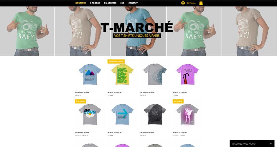 template boutique en ligne de t-shirts