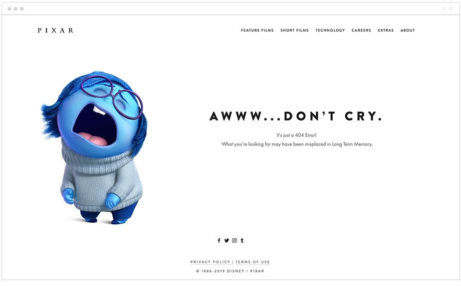 Pixar 404 page design
