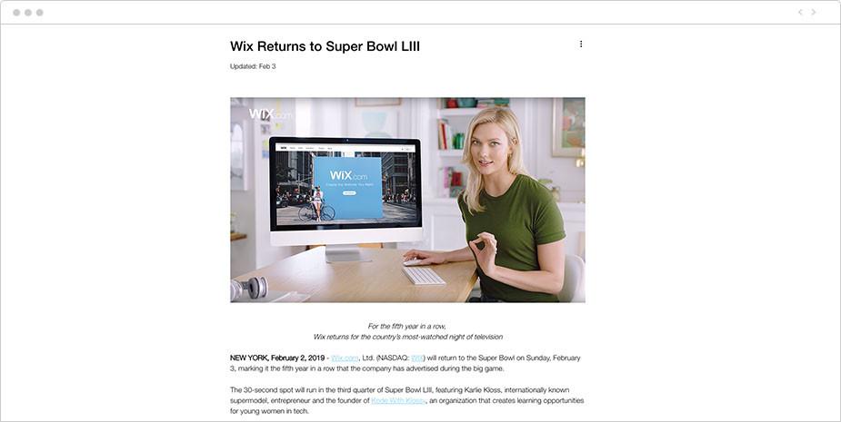 Exemple de communiqué de presse - Wix