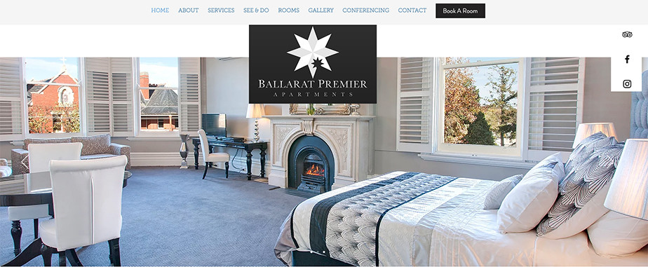 Página web de hoteles, se ve un diseño web elegante y limpio.