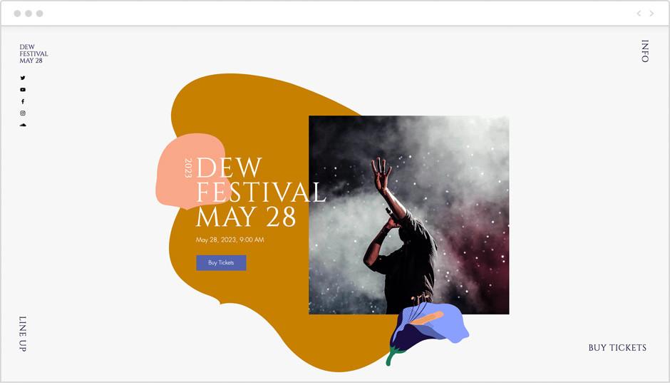 Vorlage einer Website für Events als Beispiel für Website-Ideen