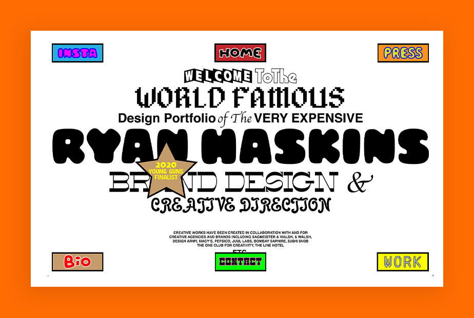 De beste portfolio website: Ryan Haskins