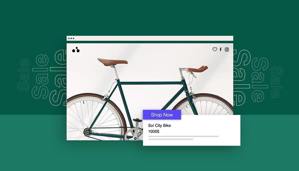 Ansicht einer Landingpage mit Fahrrad