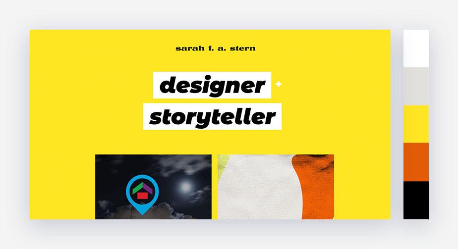 50 paletas de cores para o seu site: dinamismo do preto+amarelo