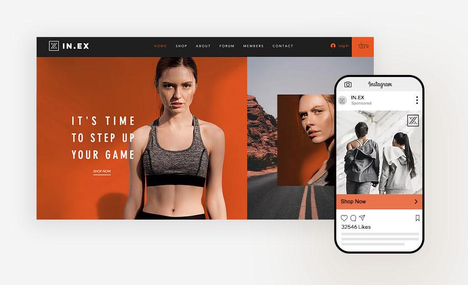 스포츠 브라를 입은 여성과 강렬한 오렌지의 배경이 보색을 이루는 스포츠 브랜드 웹사이트 페이지