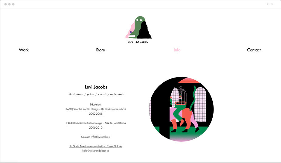 Illustrator Levi Jacobs' Wix website