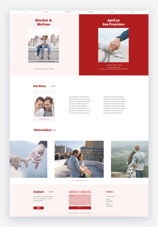 template di sito web gratuito di matrimonio in rosa bianco e rosso