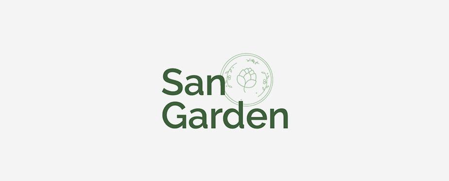 """Exemplo de logo de mercado gourmet """"San Garden"""", em fundo branco com tipografia em verde"""