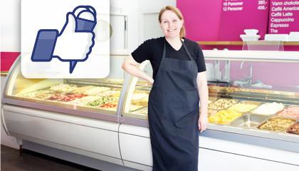 """Продавщица мороженого в своем магазине и символ """"LIKE"""""""