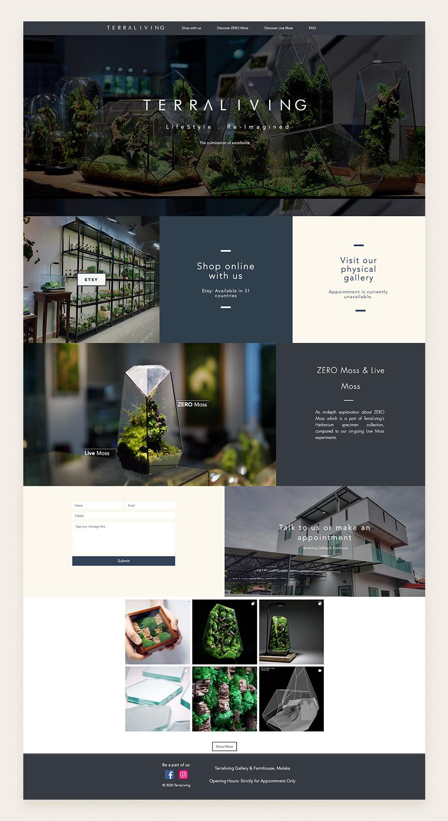 Ejemplo de sitio web de TerraLiving basado en una plantilla de Wix