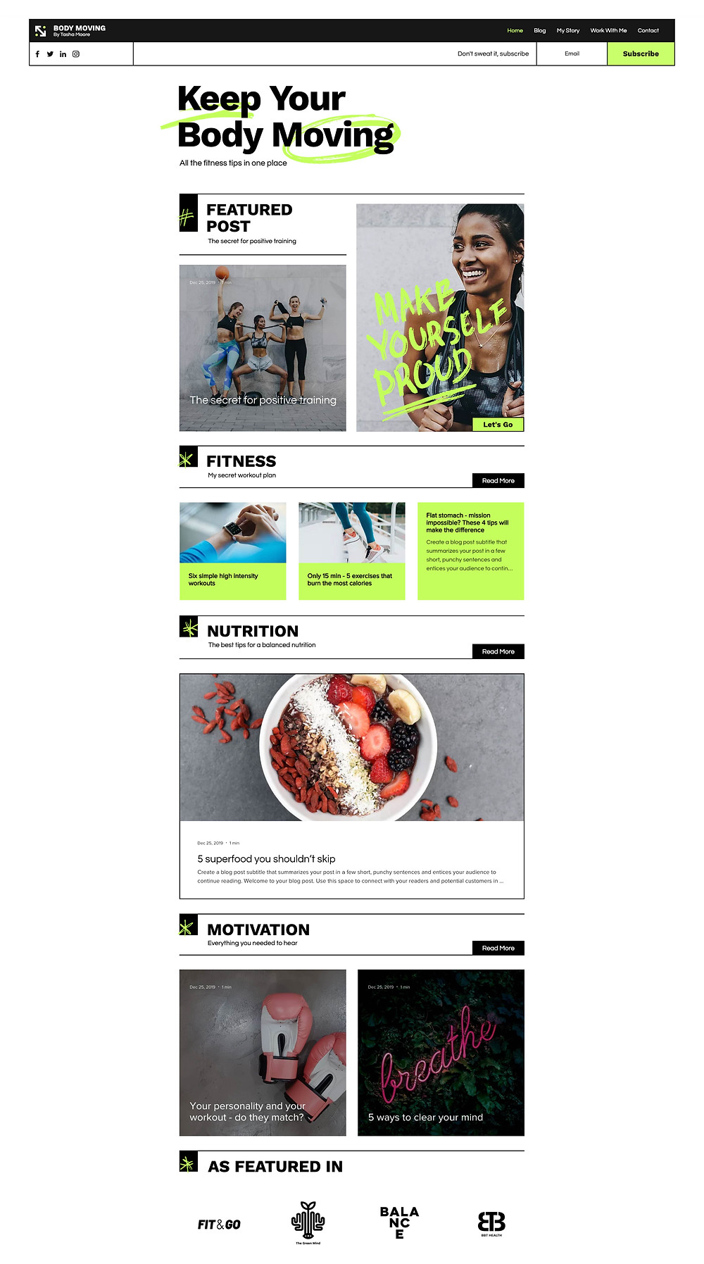 Wix website template for fitness blog