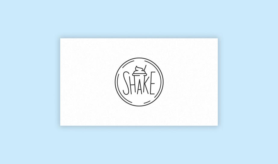 "Exemplo de logo no estilo ""Combination mark"" para a marca fictícia ""Shake"""