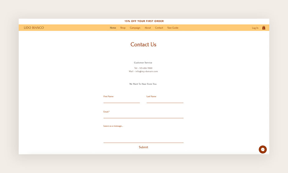 Pagina dei contatti