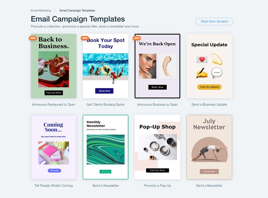 윅스에서 사용할 수 있는 이메일 캠페인 템플릿의 예시