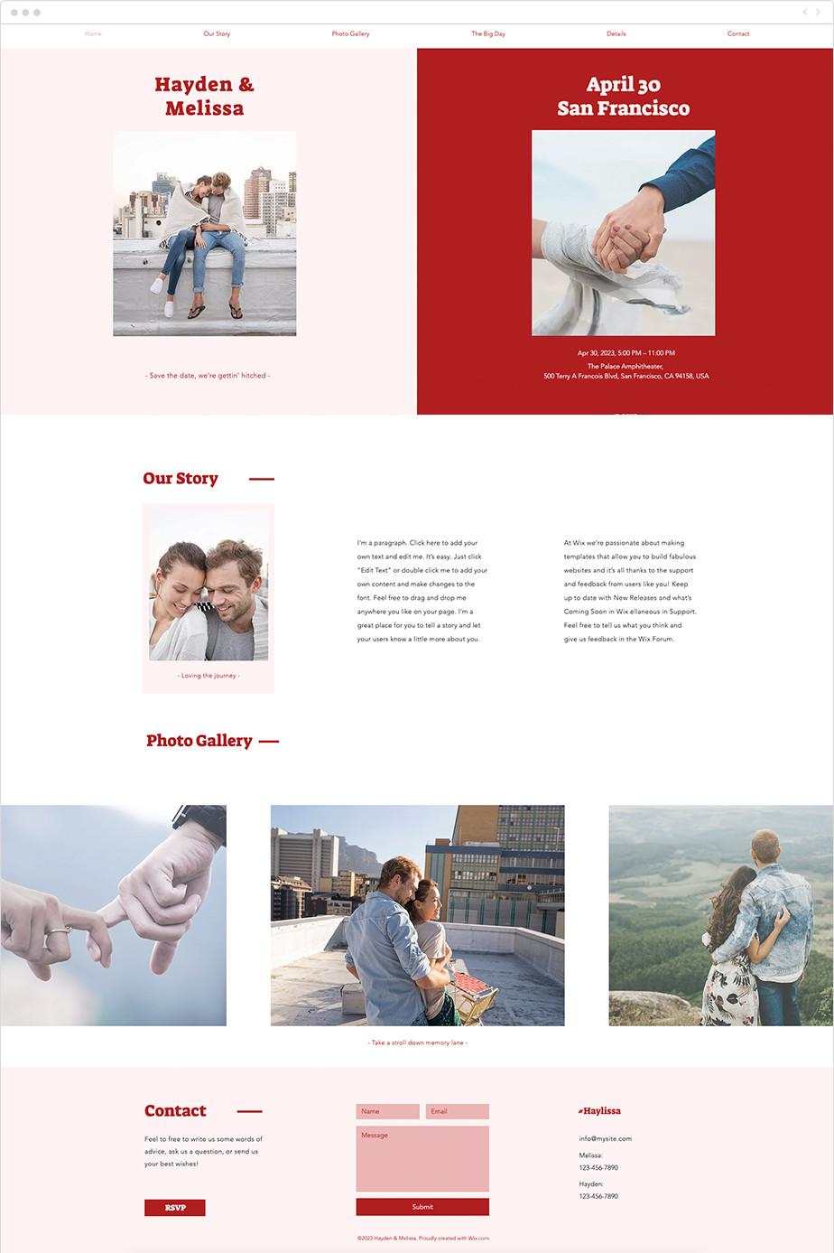 Plantilla Wix para página web de anuncio de fecha de boda