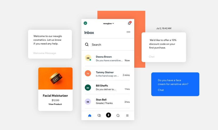 Auschnitte verschiedener Funktionen der Wix Owner App mit Inbox