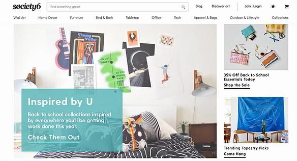 Screenshoot der Website vom Print on Demand Anbieter Society6
