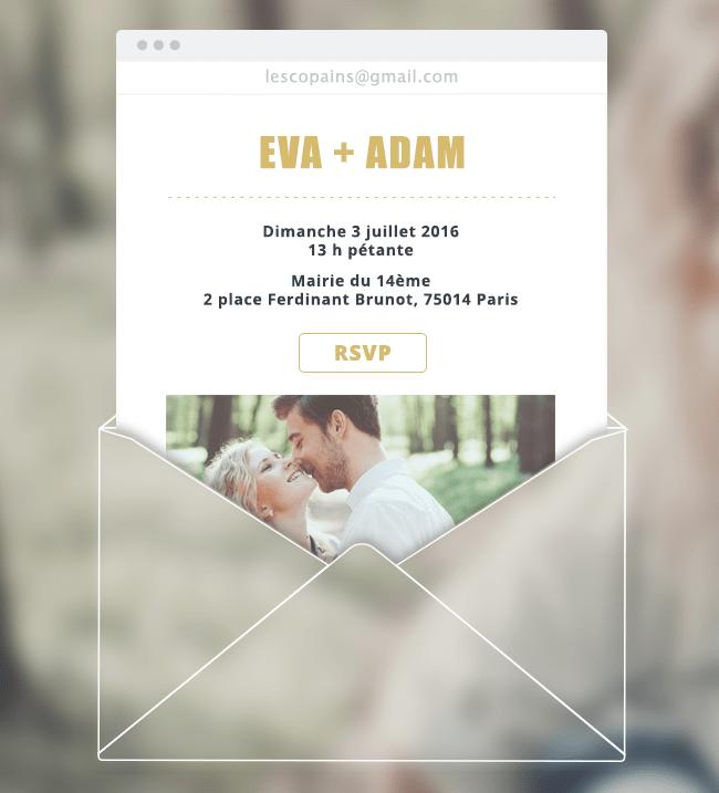 exemple d'invitation de mariage envoyée par email