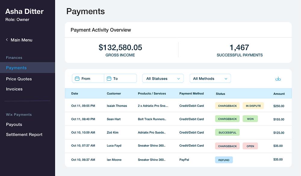 Panel de control de Wix Payments