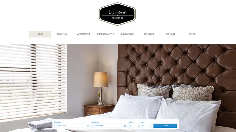 Hotel website design Signature Residence