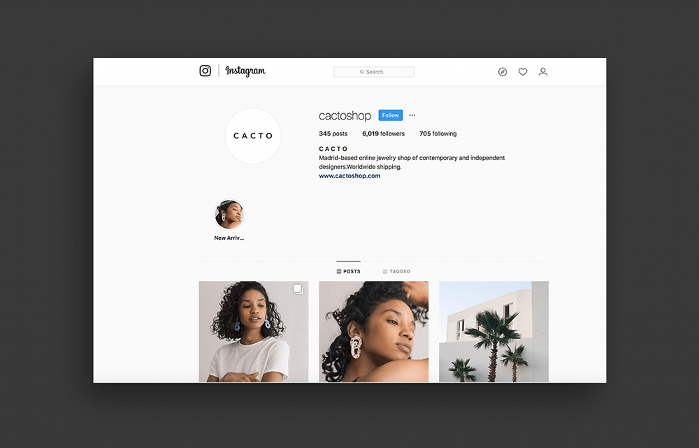 Jewelry design shop Cacto on Instagram