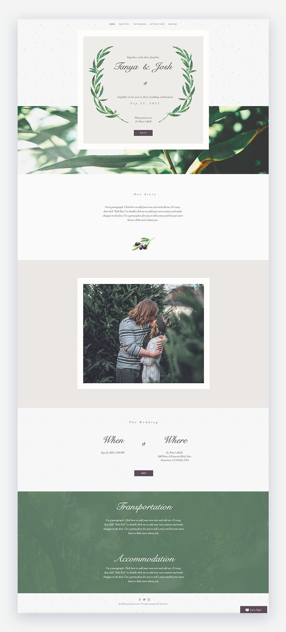 Elegante modello di invito a nozze con un sacco di colori verdi e foglie