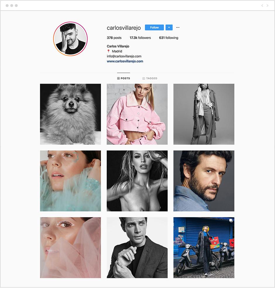 Feed de Instagram con fotos de la cuenta de Carlos Villarejo