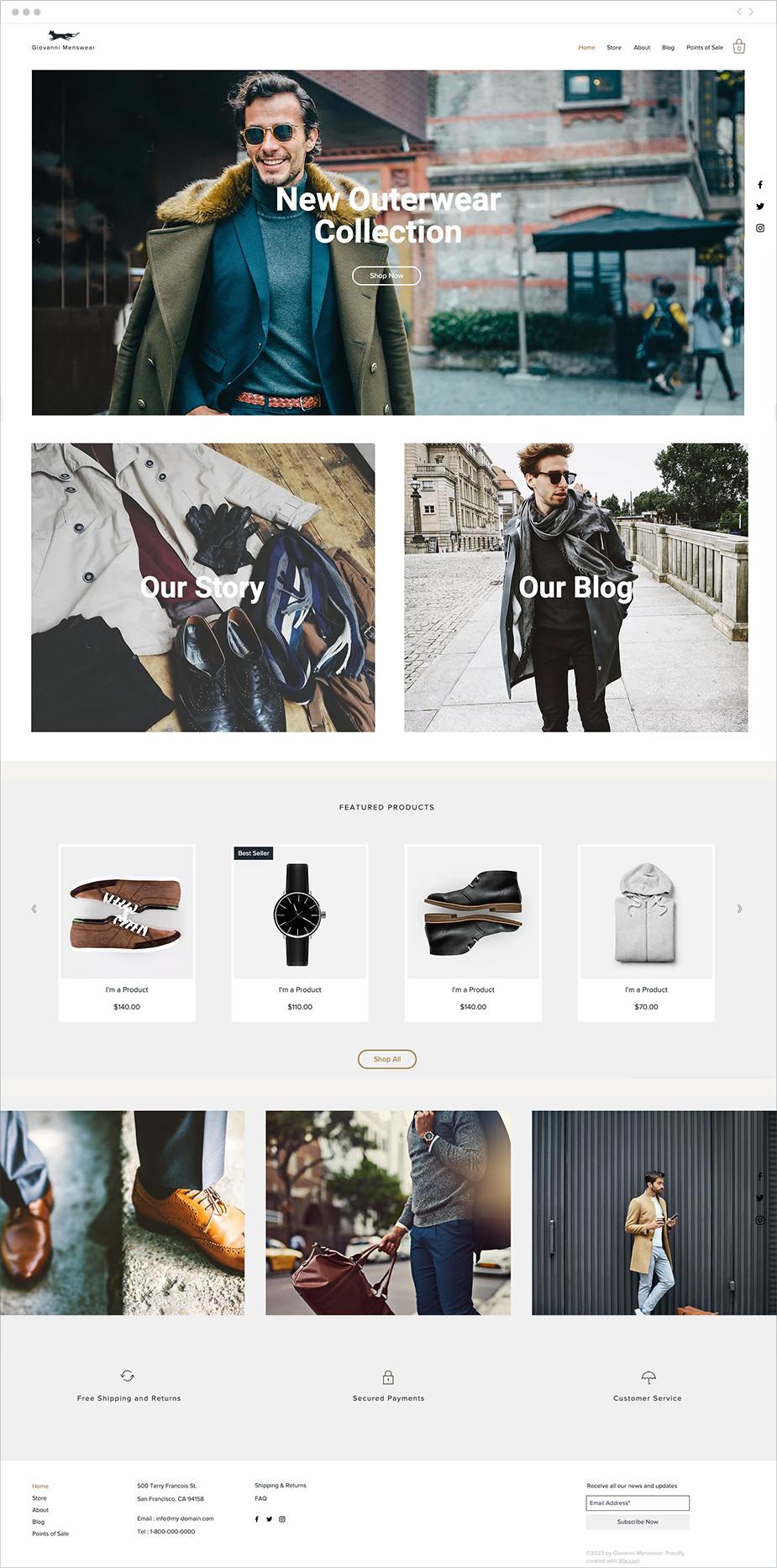 Template sito web per abbigliamento da uomo