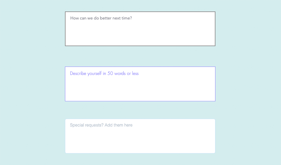Types of text boxes in online forms