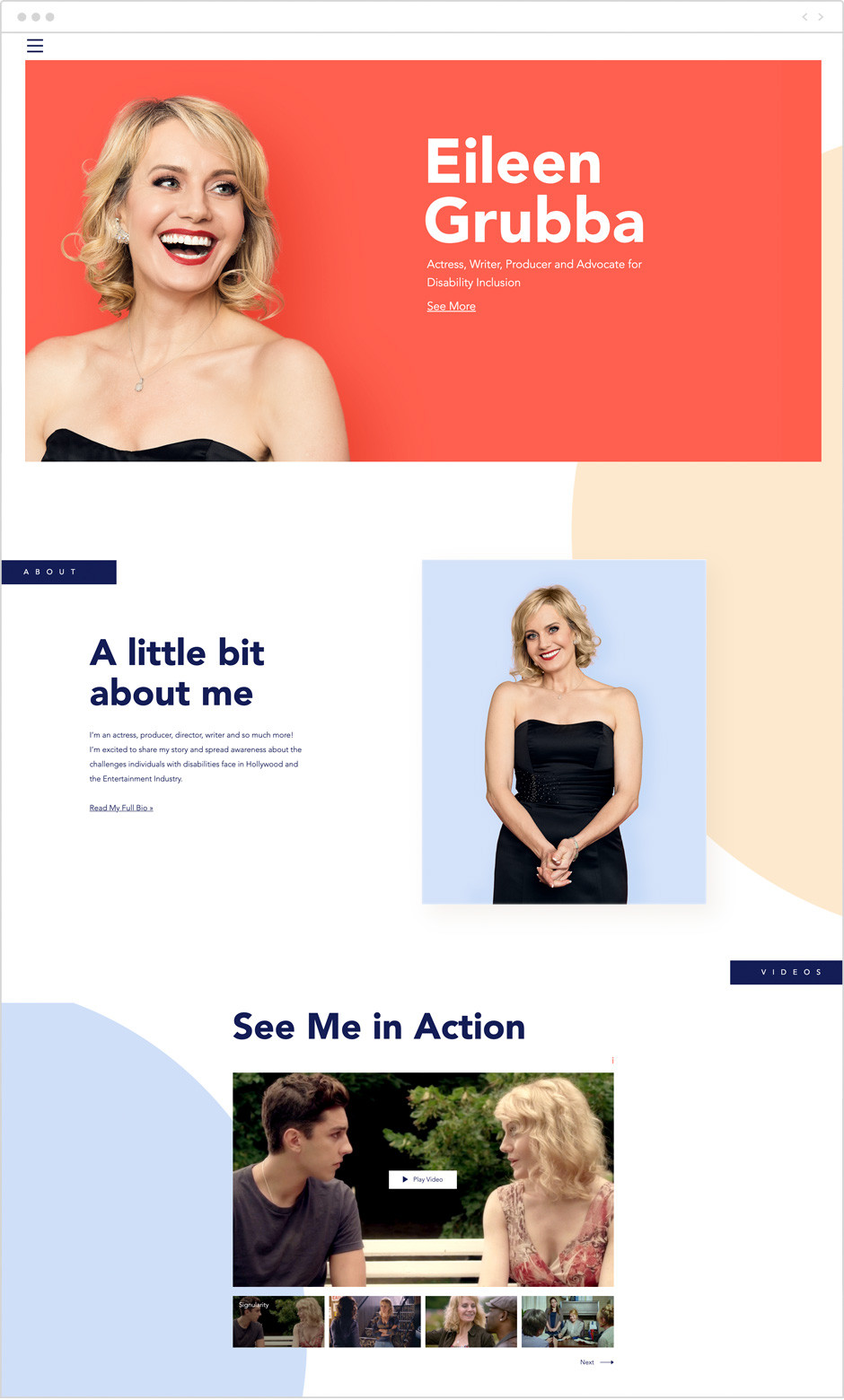 Actor website by Eileen Grubba