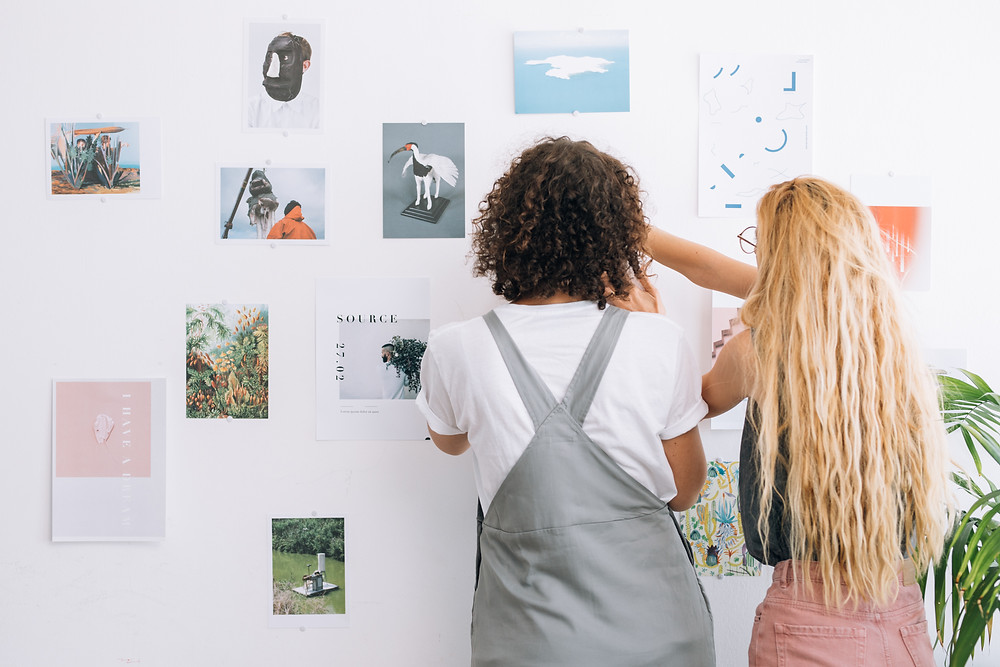 Designers and writers working together on mood board