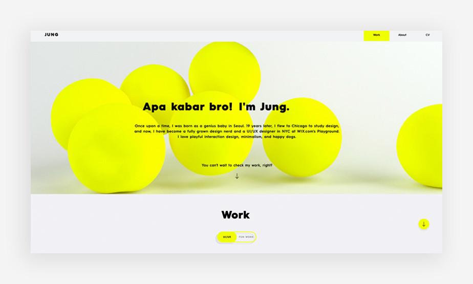 정 디자인 웹사이트의 밝고 대조적인 색상 구성이 특징인 메인 이미지