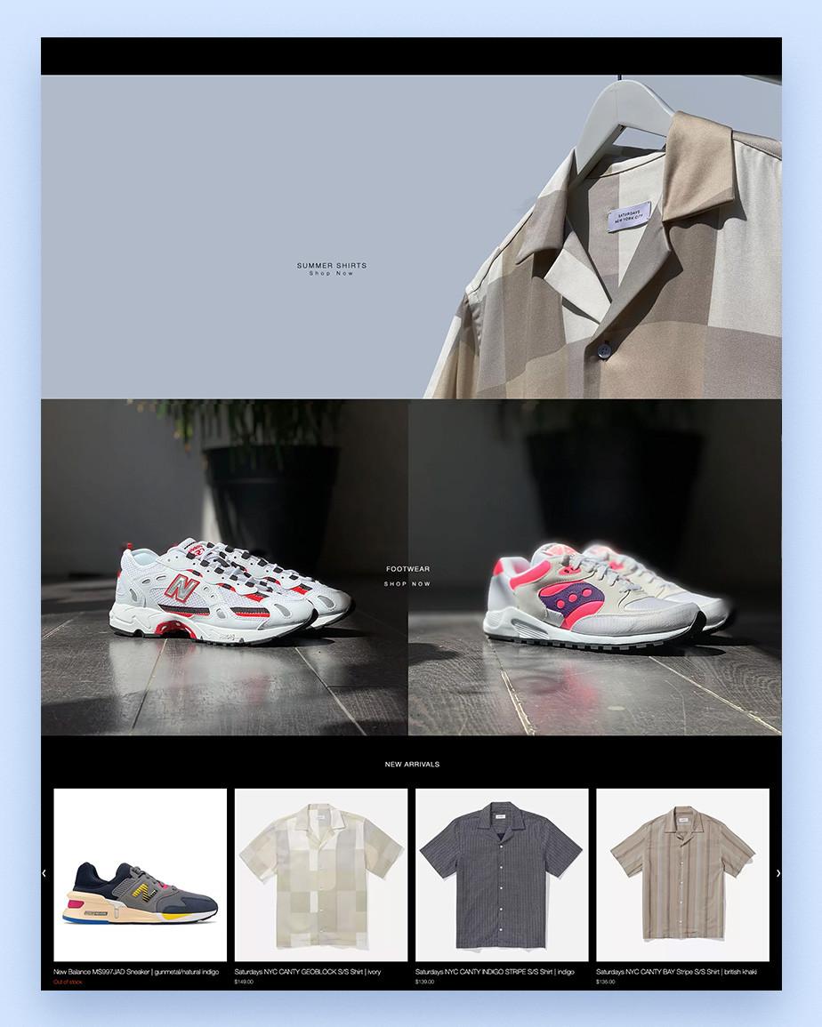Примеры сайтов на Wix: Evolve Clothing
