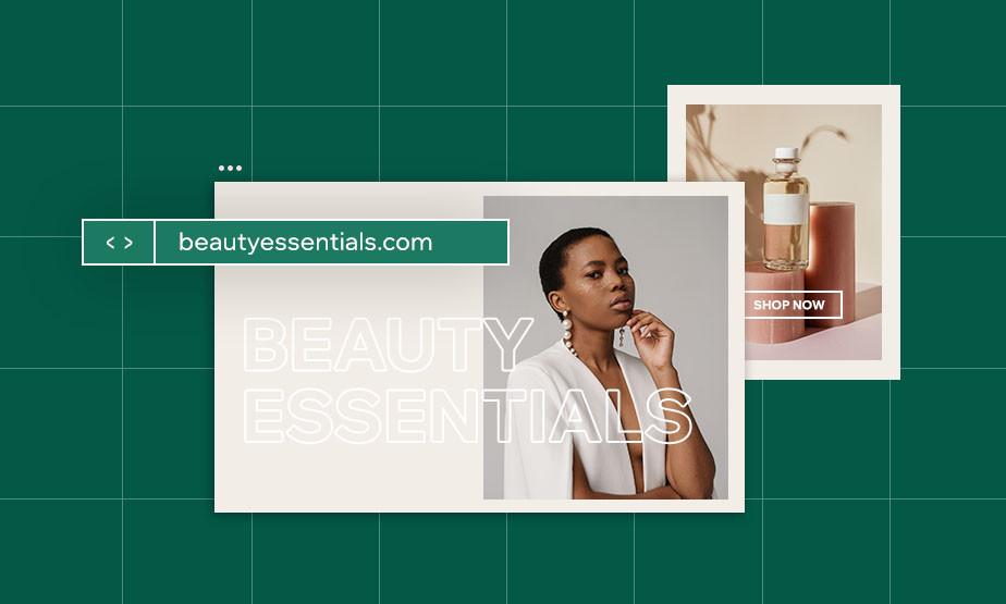 Website vor grünem Hintergrund mit Domain Name