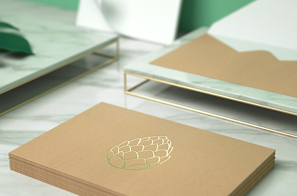 Branding and visual identity design on envelopes and cards