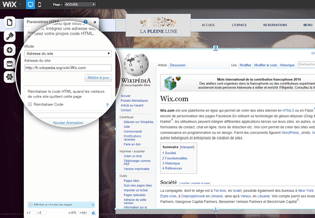 Page Wikipédia Wix sur un site