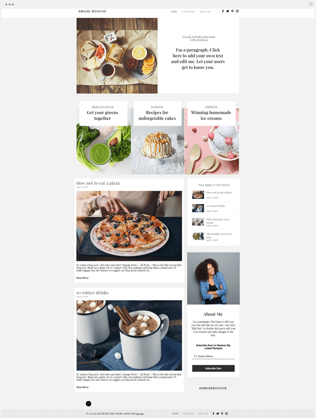 template gratuit blog cuisine nourriture