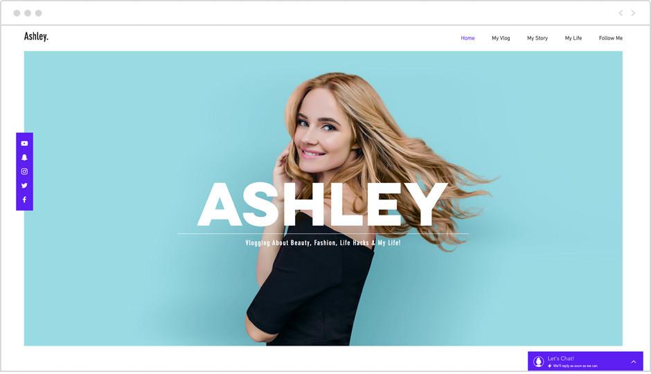 Template einer persönlichen Website als Beispiel für Website-Ideen