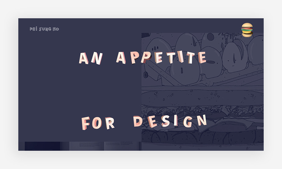 햄버거를 네비게이션 메뉴로 선택한 페이정의 기발한 웹사이트 메뉴 이미지