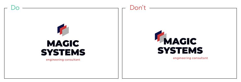 Logo von Magic Systems als Beispiel für gut ausgerichtete Logoelemente