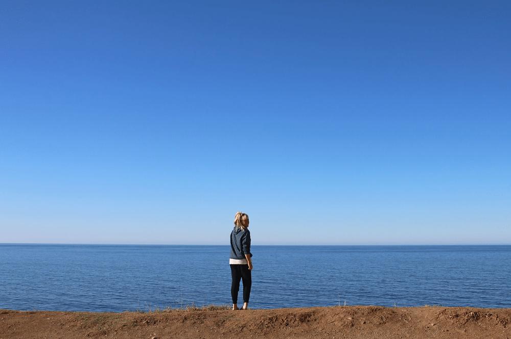 Frankie Ratford with ocean view