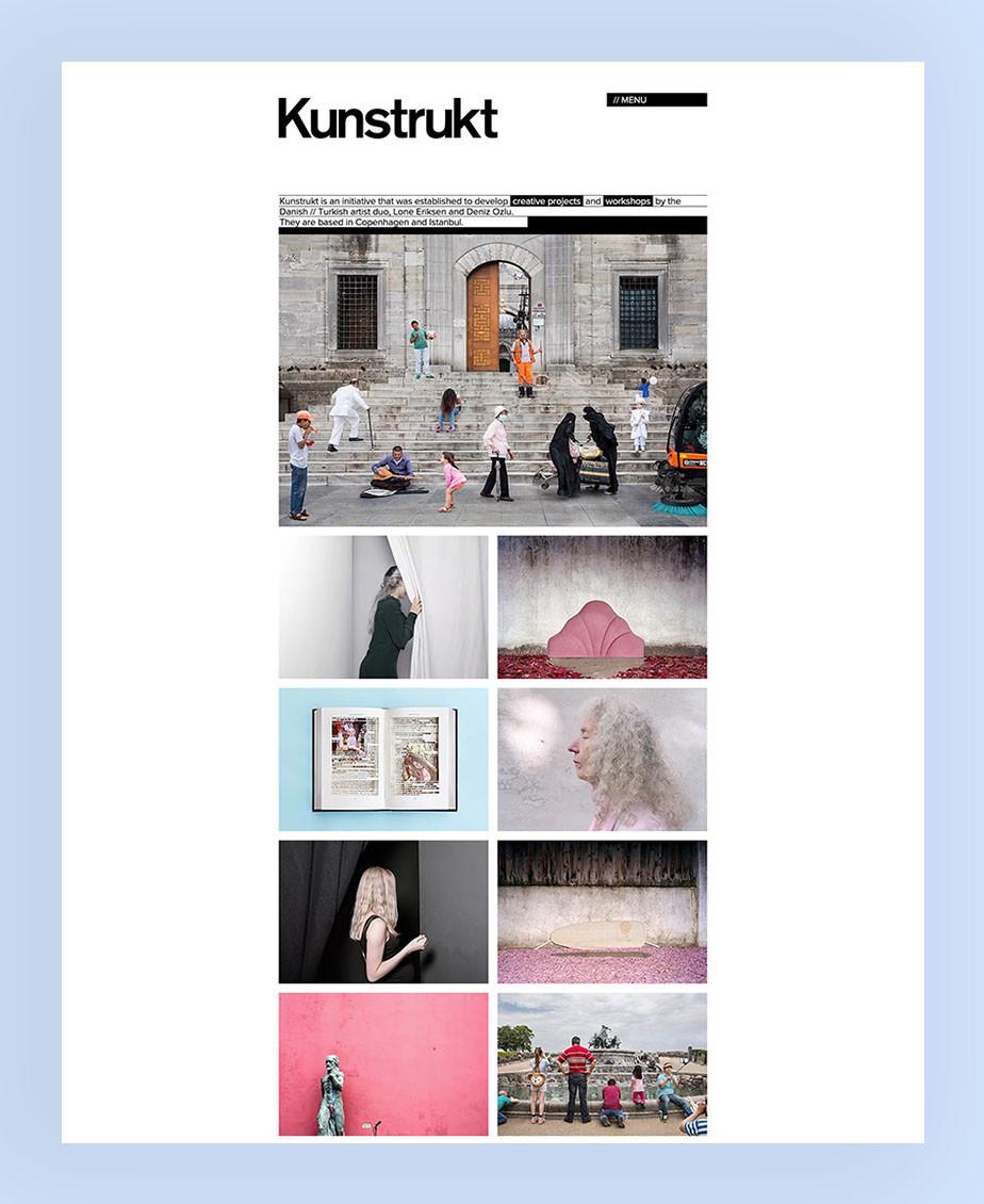 Kunstrukt een creatieve monochromatische website