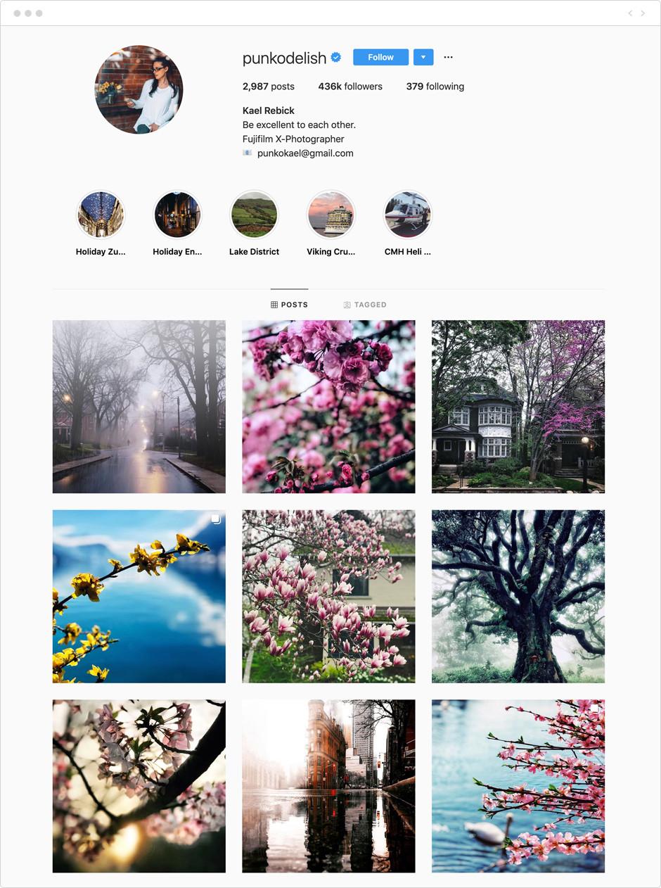 Feed de Instagram de Kael Rebick