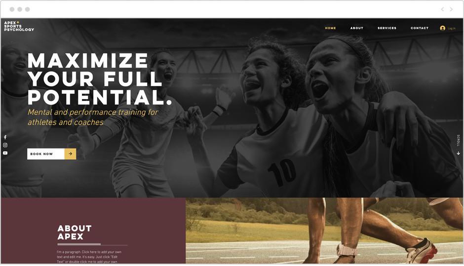 Template einer Fitness-Website als Beispiel für Website-Ideen